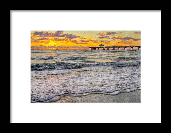 Clouds Framed Print featuring the photograph Deerfield Beach by Debra and Dave Vanderlaan