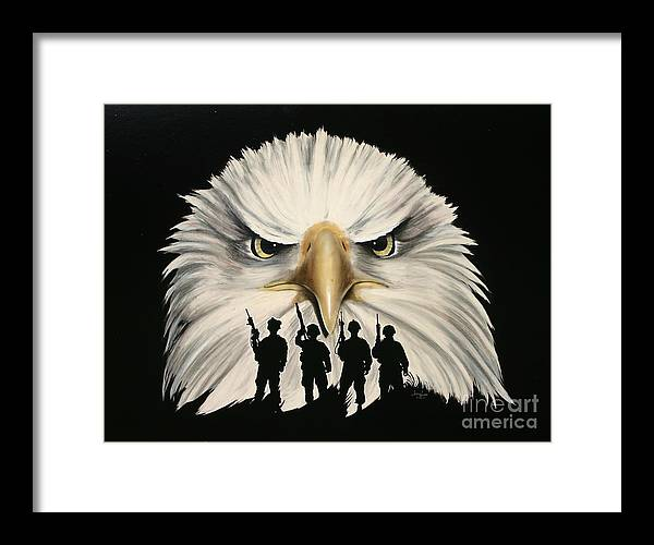 Patiotic Framed Print featuring the painting Defending Us by Jerry Lee