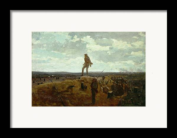 Defiance Framed Print featuring the painting Defiance - Inviting A Shot Before Petersburg by Winslow Homer