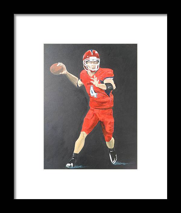 Derek Carr Framed Print featuring the painting Derek Carr by Travis Day