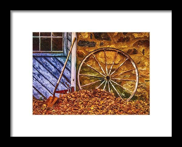 Digital Art Framed Print featuring the digital art Derelict Cabin by Jill Balsam