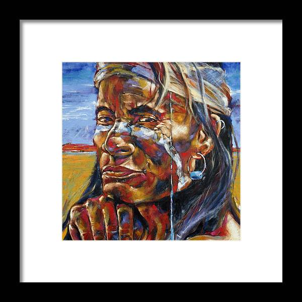 Joe Mueller Framed Print featuring the painting Desert Brave by Joe Mueller
