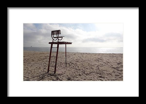 Lifeguard Chair Framed Print featuring the photograph Deserted Beach by Jessica Cruz