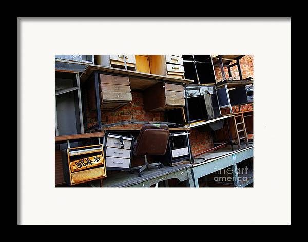 Abandoned Framed Print featuring the photograph Desk Scrap by Carlos Caetano