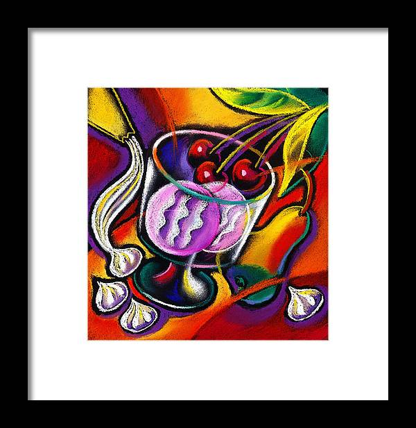 Bloom Blooming Blossom Blossoming Bouquet Cake Celebrate Celebration Coffee Coffee Cup Decorate Decoration Decorations Dessert Dine Dining Entertain Entertainment Event Fine Dining Flower Flowers Food Formal Frosting Harp Meal Music Musical Musical Instrument Pastry Restaurant Sweets Table Tabletop Tea Vase Decorative Painting Abstract Art Framed Print featuring the painting Dessert by Leon Zernitsky