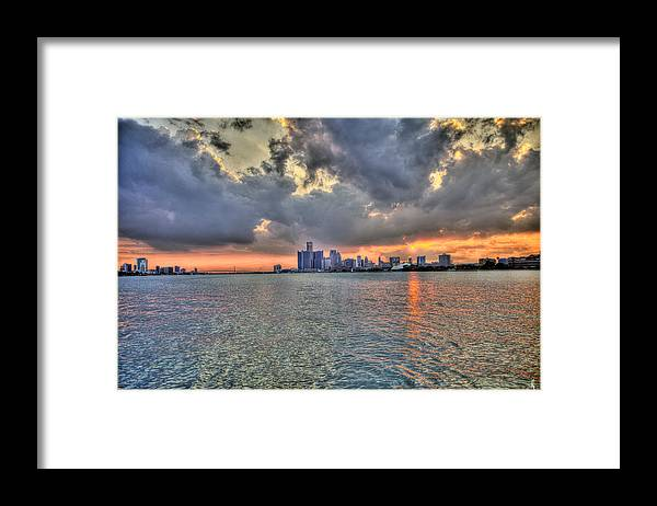 Sunset Framed Print featuring the photograph Detroit Sunset by Nicholas Grunas