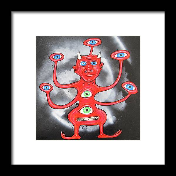 Devil Framed Print featuring the painting Diabolous Tribus B by RT Vegas