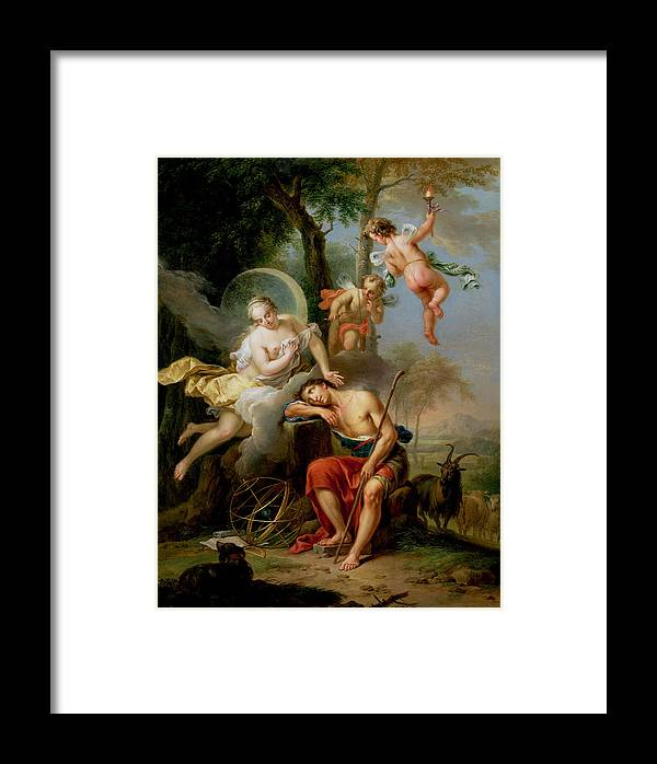 Putti; Goat; Orb; Sleep; Armillary Sphere; Cupid; Crt; Dgt; Diane; Artemis; Armillaire Framed Print featuring the painting Diana And Endymion by Frans Christoph Janneck