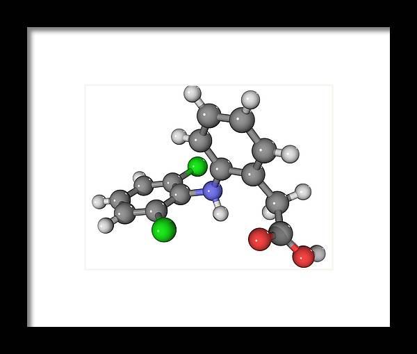 Molecular Framed Print featuring the photograph Diclofenac Drug Molecule by Laguna Design