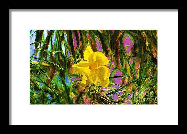 Digital Painting Framed Print featuring the digital art Digital Painting Of Yellow Orchid by John Kolenberg