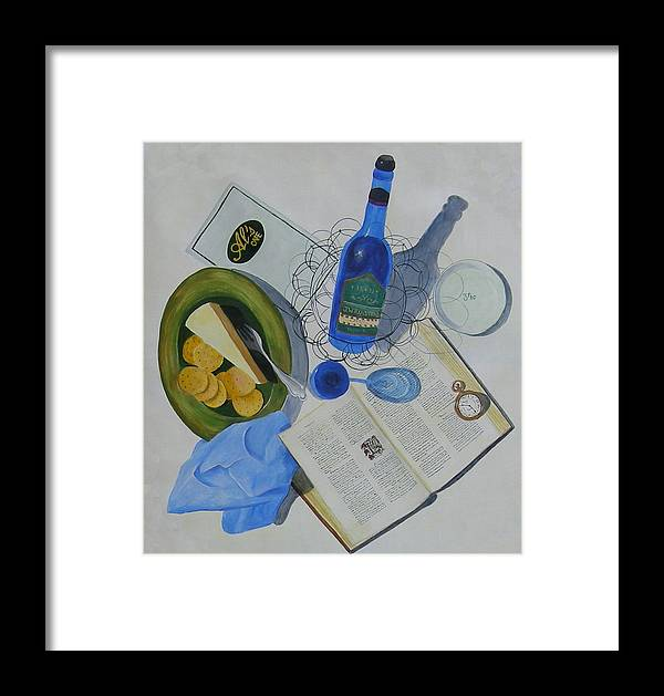 Table Scape Overhead View Wine Cheese Plate Fork Watch Time Book Words Menu Reading Drinking Eating Bistro Al's Cafe And Creamery Napkin Blue Green Yellow Brown Glass Wire Basket Ranstead Building L Topel Linda Topel Trompe L'oeil Life Like Bottle Reflections Shadows Art Plate Silverware Pages Decorative Letter Clock Dining On Words At Al's Cafe Framed Print featuring the painting Dining On Words At Al's Cafe by L Topel