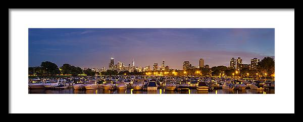 Chicago Framed Print featuring the photograph Diversey Harbor At Dusk by Twenty Two North Photography