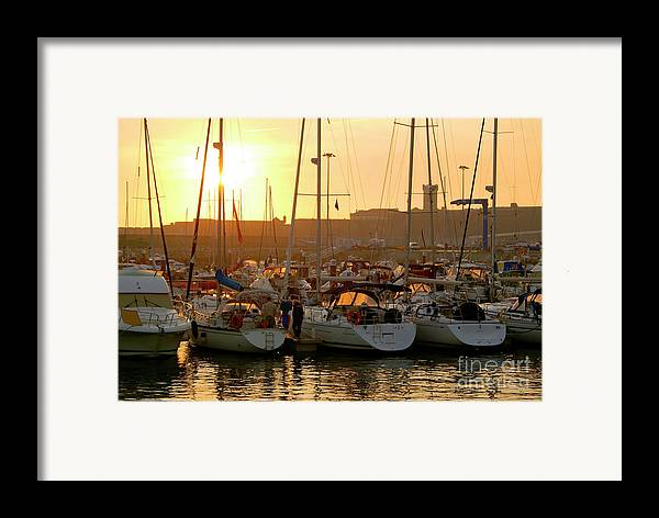 Anchor Framed Print featuring the photograph Docked Yachts by Carlos Caetano