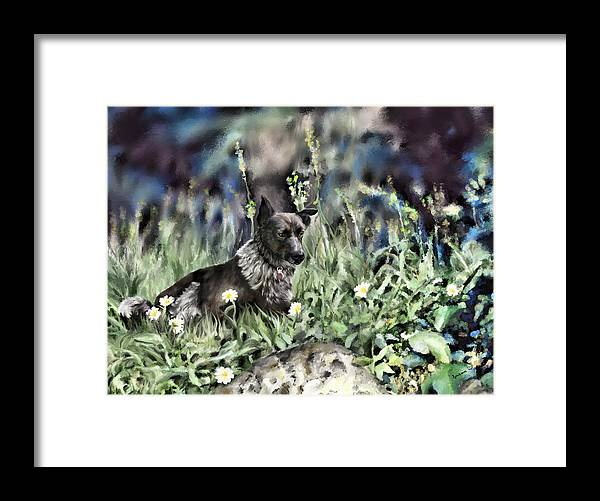 Pet Portraits Framed Print featuring the painting Dog Painting by Susan Kinney