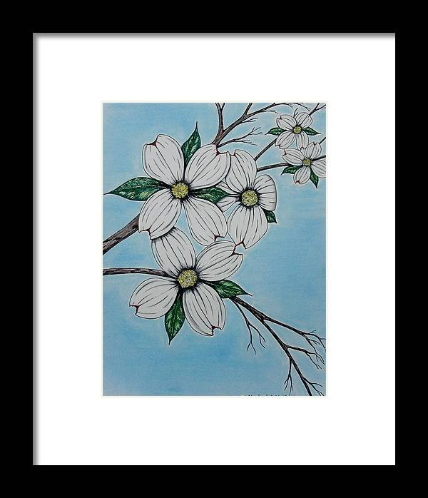 Dogwood Framed Print featuring the mixed media Dogwood by Troy Cleveland II