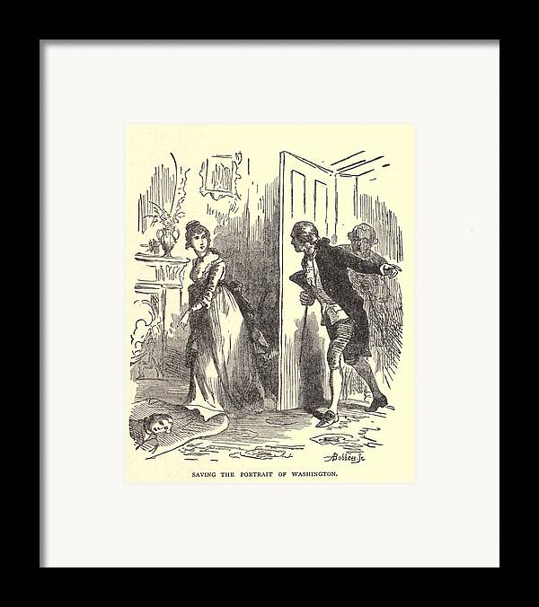 History Framed Print featuring the photograph Dolley Madison Saving The Portrait by Everett