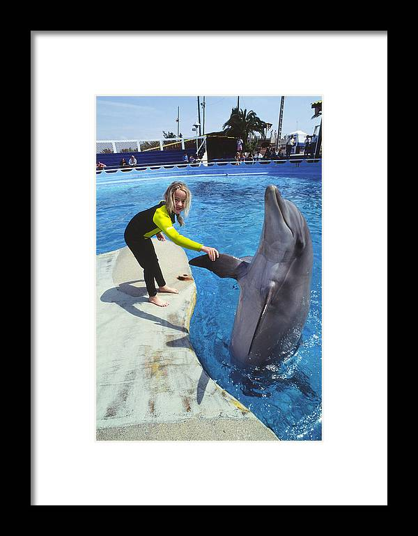 Dolphin Framed Print featuring the photograph Dolphin And Child by Alexis Rosenfeld
