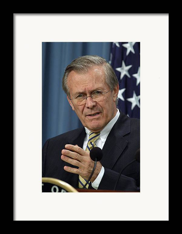 History Framed Print featuring the photograph Donald H. Rumsfeld Secretary Of Defense by Everett