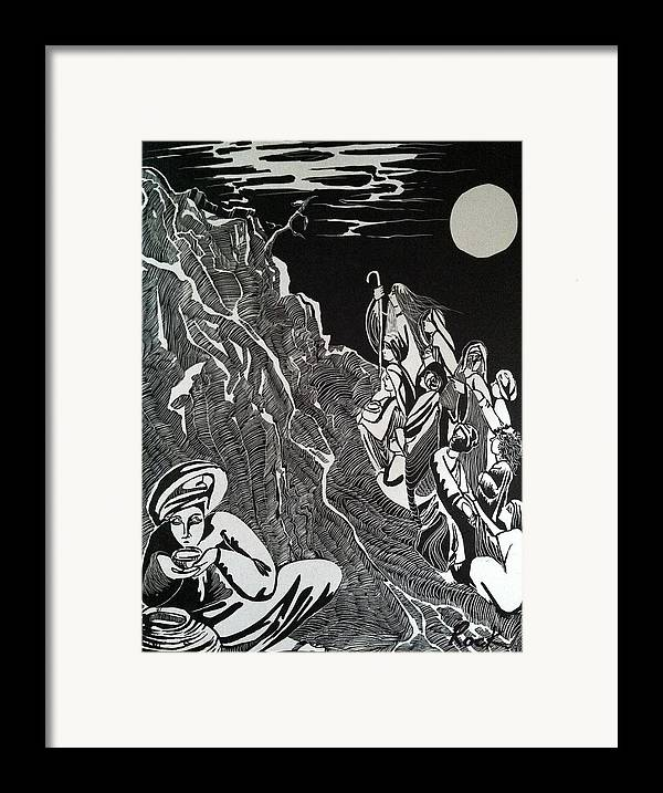 Bible Madman Black White Moon Framed Print featuring the drawing Don't Drink The Water by Jackie Rock