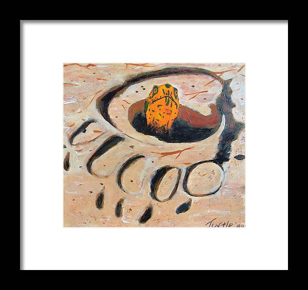 Turtle Southwest Bear Print Desert Animal Tracks Tortoise Sand Framed Print featuring the painting Don't Tread On Me by The Nothing Machine Ink