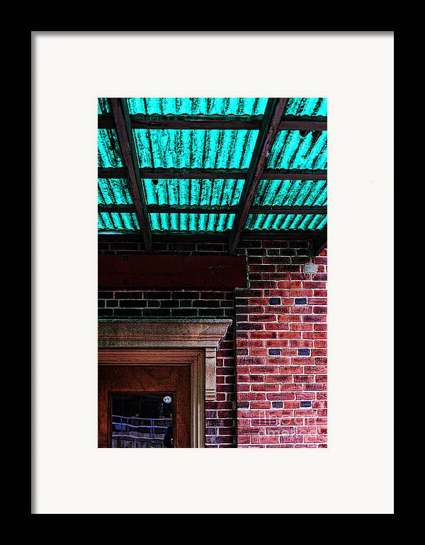 Door Framed Print featuring the photograph Door With Green Overhang by HD Connelly