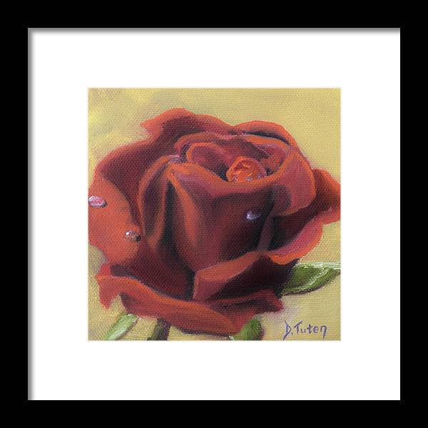 Rose Framed Print featuring the painting Doris's Rose by Donna Tuten