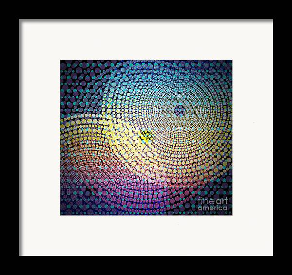 Abstract Framed Print featuring the digital art Dots Circles by Atiketta Sangasaeng