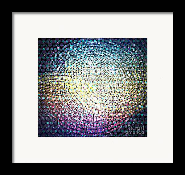 Abstract Framed Print featuring the digital art Dots Colors by Atiketta Sangasaeng