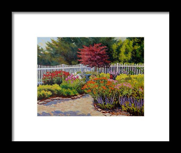 Impressionism Framed Print featuring the painting Dotti's Garden Summer by Keith Burgess