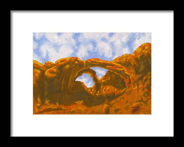 Oil Painting Framed Print featuring the painting Double Arch by Peter Nielsen
