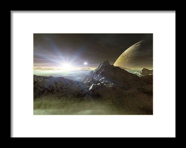 Planet Framed Print featuring the photograph Double Star Sunset On An Alien Planet by Detlev Van Ravenswaay
