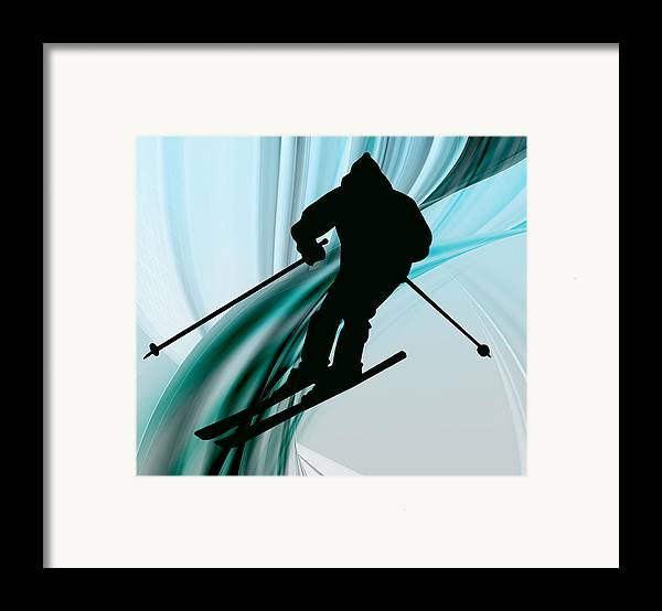Ski Framed Print featuring the painting Downhill Skiing On Icy Ribbons by Elaine Plesser