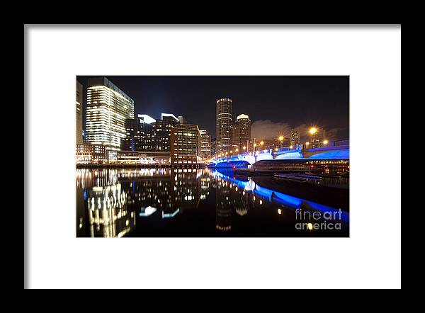 Boston Massachusetts Bridge Skyline Buildings Purple Colorful Art Gallery Gift Wraps Decor Decoration Wall Us Usa Water River Ocean Lights Streaks Framed Prints Framed Print featuring the photograph Downtown Boston by Darwin Lopez