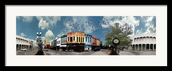 Bryan Framed Print featuring the digital art Downtown Bryan Texas 360 Panorama by Nikki Marie Smith