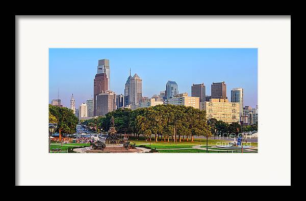 Downtown Framed Print featuring the photograph Downtown Philadelphia Skyline by Olivier Le Queinec
