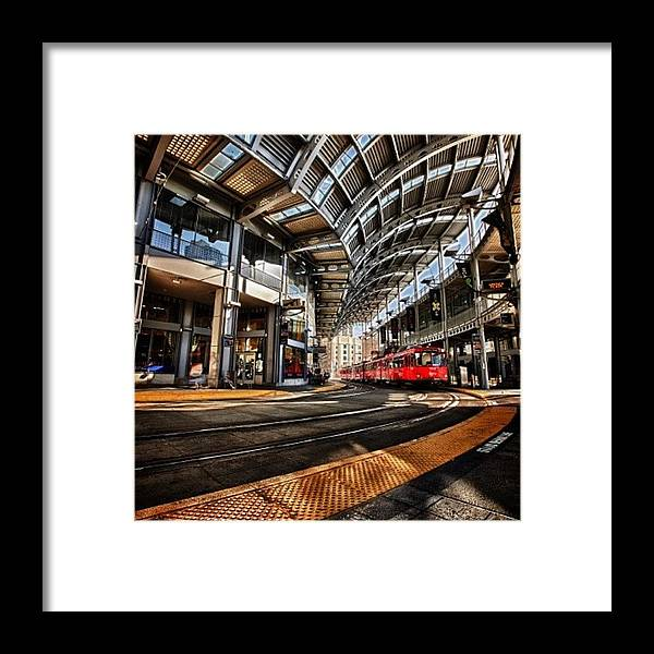 Framed Print featuring the photograph Downtown San Diego Trolley Station by Larry Marshall