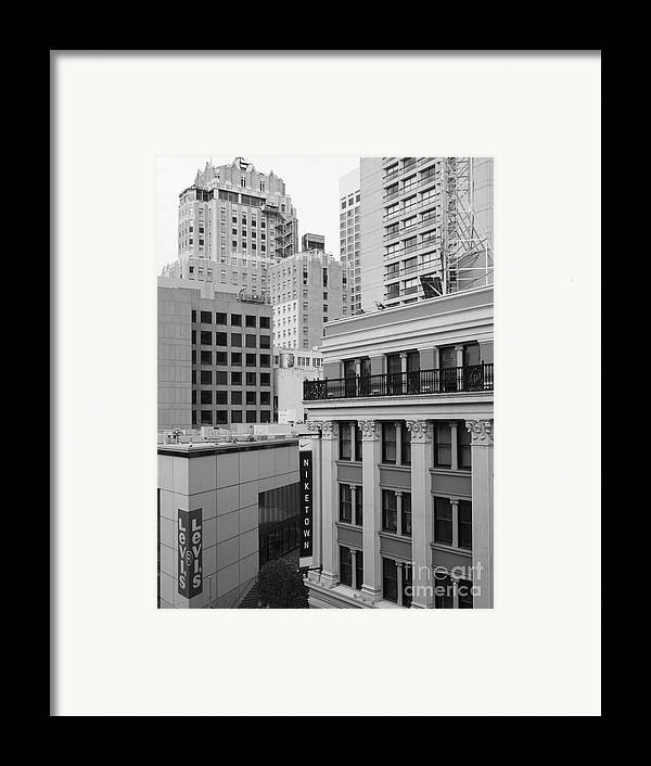 San Francisco Framed Print featuring the photograph Downtown San Francisco Buildings - 5d19323 - Black And White by Wingsdomain Art and Photography