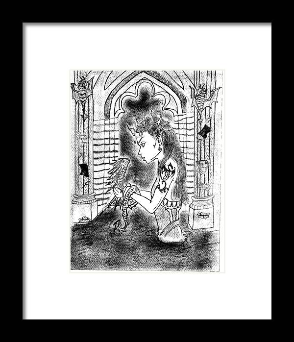Framed Print featuring the drawing Dragon And The Dame by Karthikeyan Yuvaraj