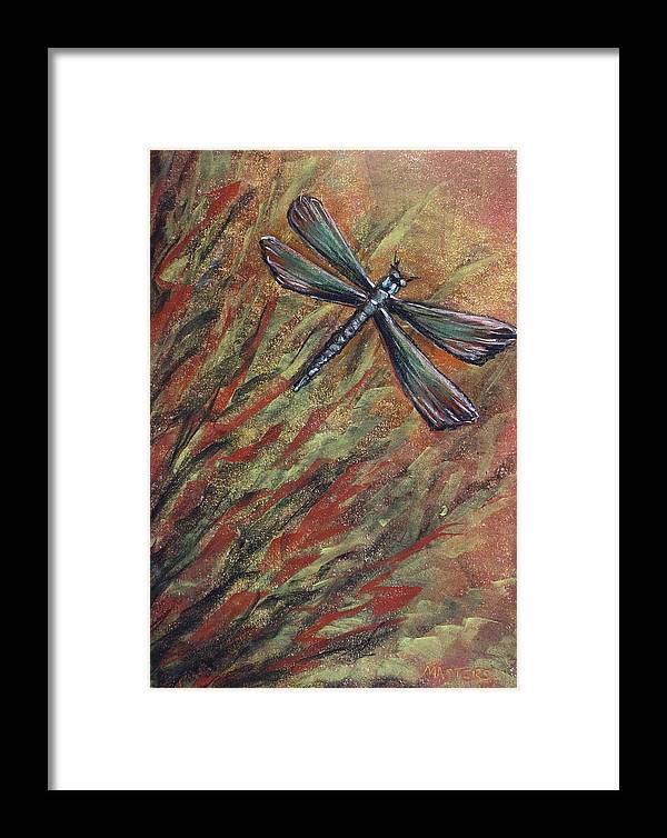 Dragonfly Art Framed Print featuring the painting Dragon by Lisa Masters
