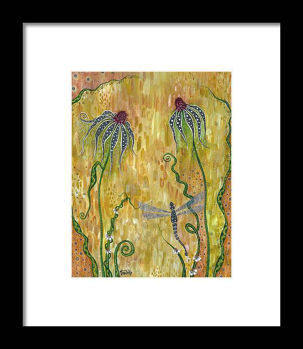 Dragonfly Framed Print featuring the painting Dragonfly Safari by Tanielle Childers