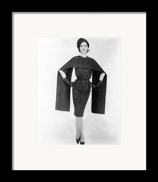 History Framed Print featuring the photograph Dramatic Checked Dress And Cape. Dress by Everett