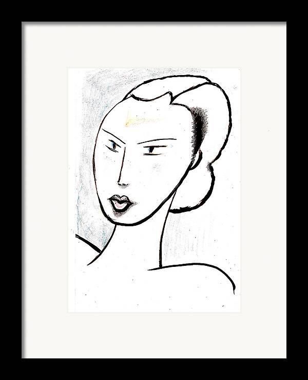 Mysterious Framed Print featuring the drawing Dream Girl by Al Goldfarb