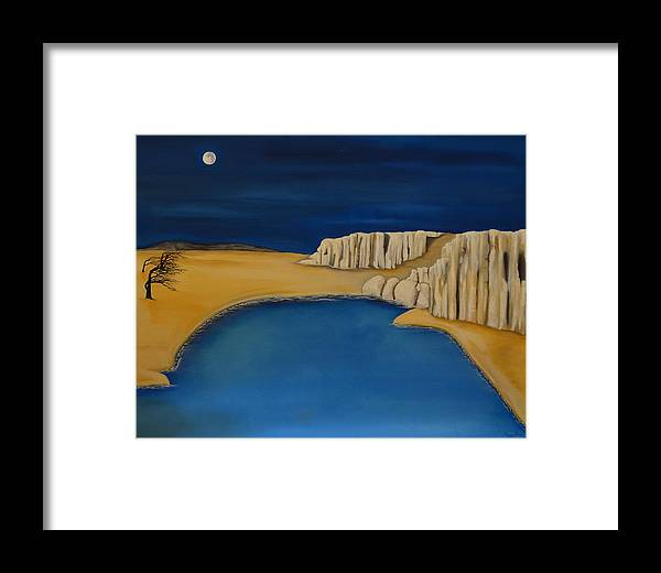 Moon- Sand- Trees- Water- Cliffs- Rocks- Night Framed Print featuring the painting Dream Scape by Gwen Albee