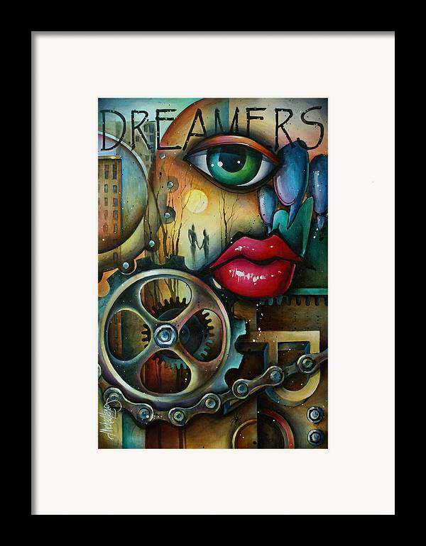 Urban Expressions Framed Print featuring the painting Dreamers 3 by Michael Lang