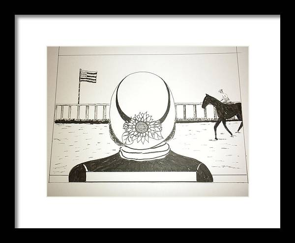 Day At The Races Framed Print featuring the drawing Dressed For The Race by Laura Collins