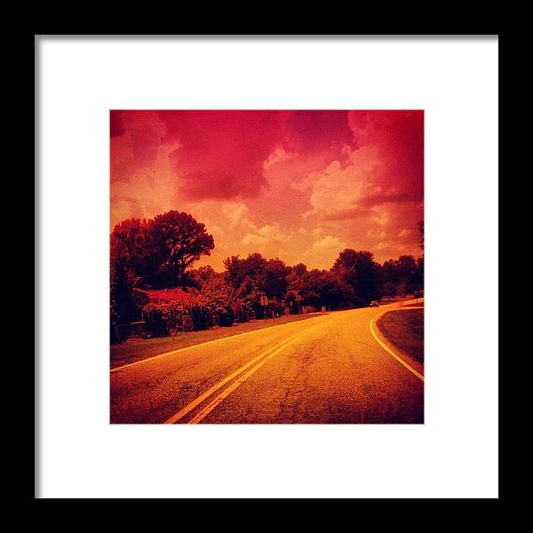 Pink Framed Print featuring the photograph #driving #sky #clouds #road #summer by Katie Williams