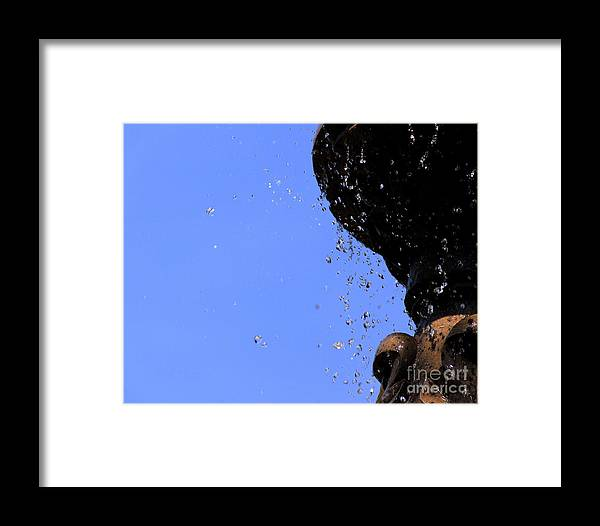 Canon Photoshop Cs5 Water Sky Nature Fountain Colors Motion Framed Print featuring the photograph Drops by Melissa Hardiman