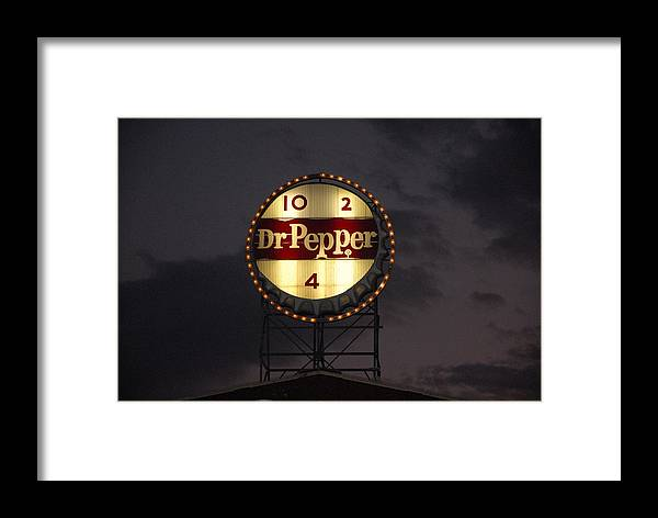 Landscape Framed Print featuring the photograph Dr.pepper Sign by Angela Partridge