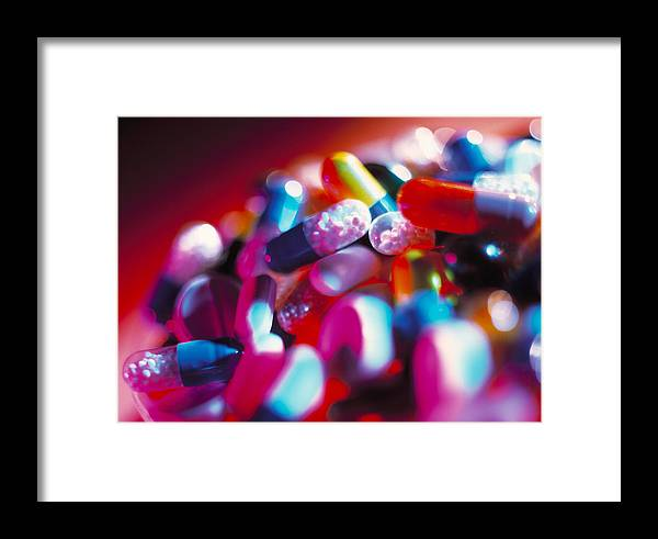 Pill Framed Print featuring the photograph Drug Pills And Capsules by Tek Image