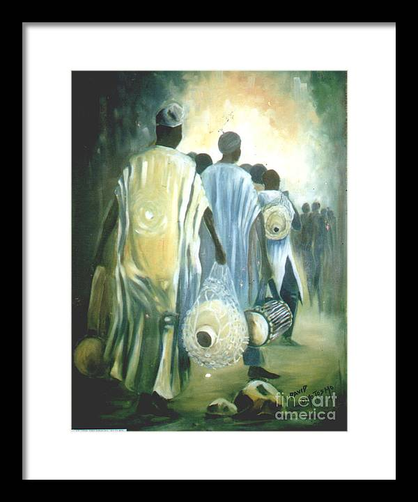 African Culture Green Painting Framed Print featuring the painting Drummers' Return by David Omotosho